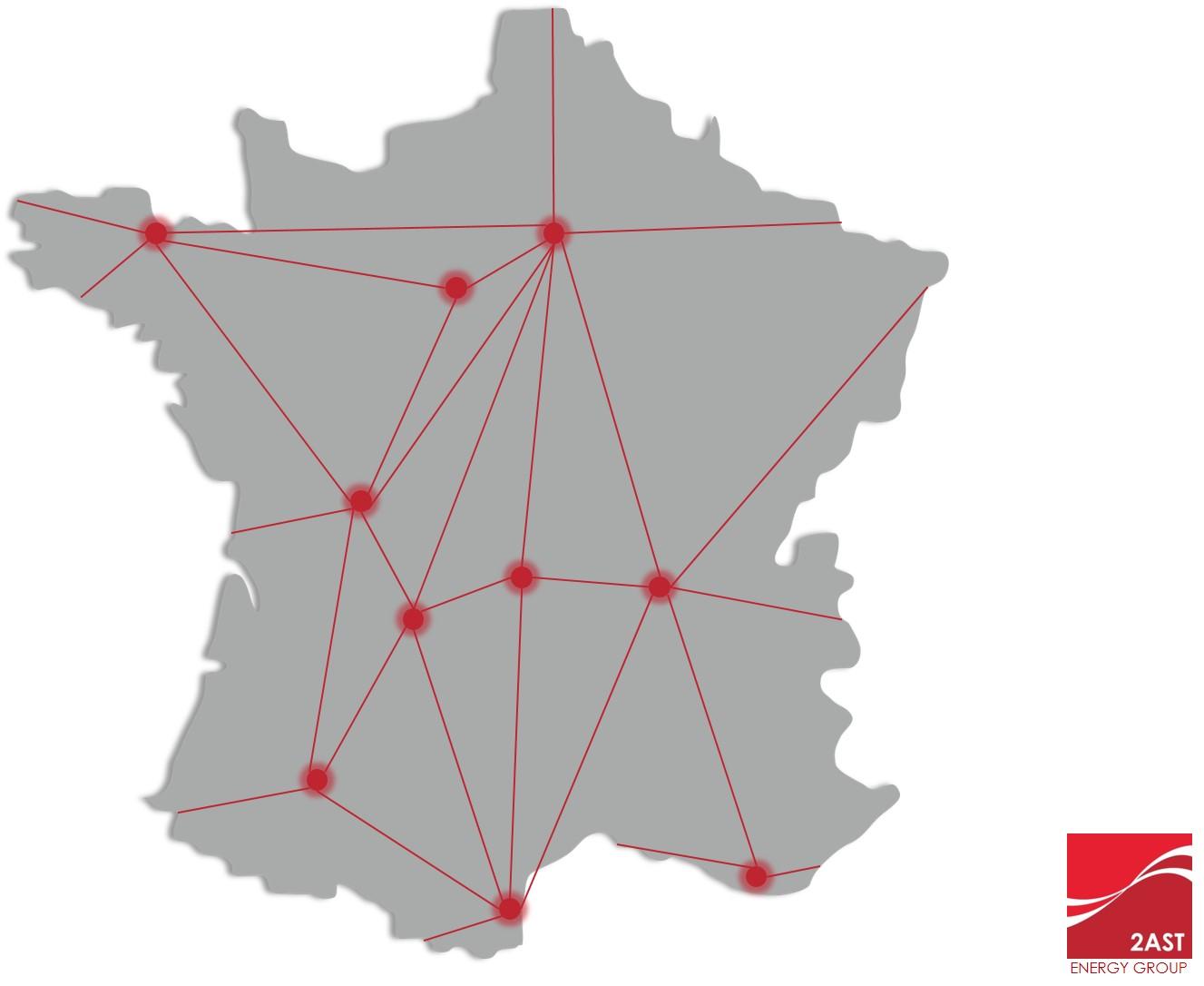 Carte des agences du groupe 2AST