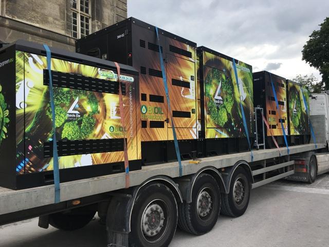 Transport de groupes électrogènes à l'huile végétale