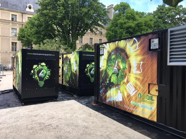 groupes électrogènes à l'huile végétale course Forumle 1 électrique place des invalides à Paris - groupe électrogène huile végétale éligible biomasse
