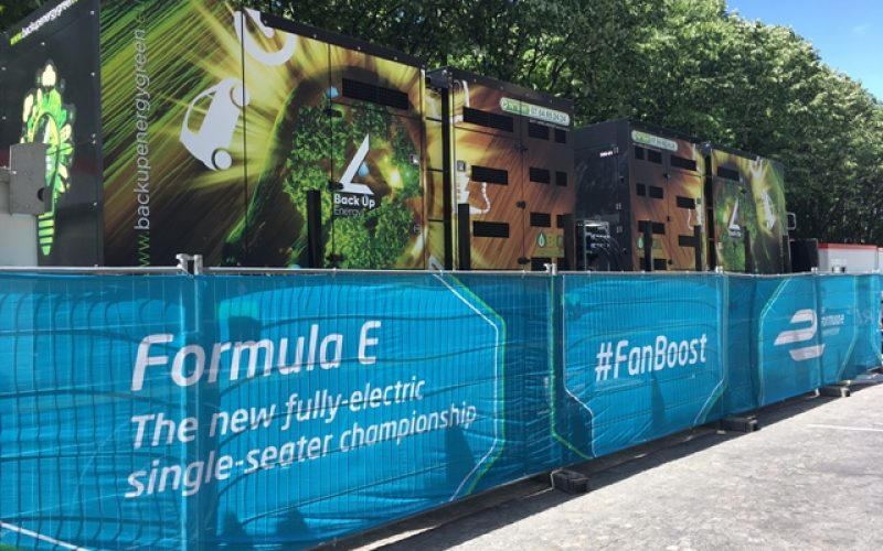 The Production of green energy with the bio oil generators at a grand prix of formule 1 in Paris